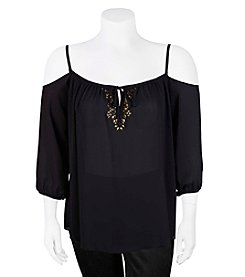 A. Byer Plus Size Embellished Crepe Cold Shoulder Top