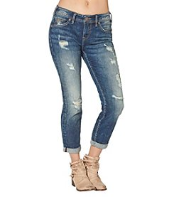Silver Jeans Co. Destructed Single Cuff Boyfriend Jeans