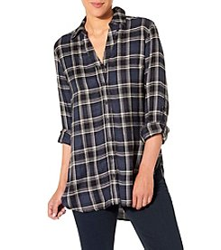 Silver Jeans Co. Convertible Sleeve Plaid Top