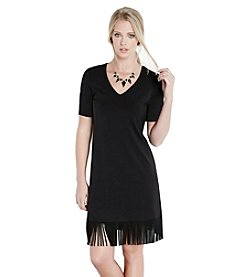 Karen Kane® V-Neck Fringe Hem Dress