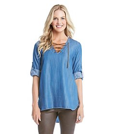 Karen Kane® Denim Lace Up Roll Tab Top