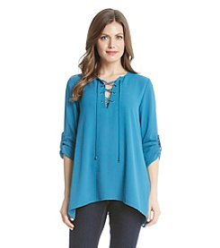Karen Kane® Lace Up Roll Tab Blouse