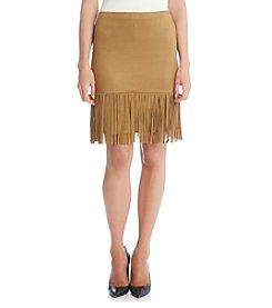 Karen Kane® Faux Suede Fringe Skirt