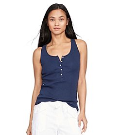 Lauren Jeans Co.® Ribbed Cotton Henley Tank