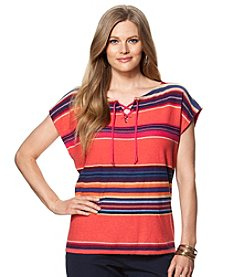 Chaps® Plus Size Striped Linen-Cotton Top