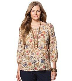 Chaps® Plus Size Floral Boho Top
