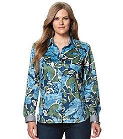 Chaps® Plus Size Non-Iron Floral Sateen Shirt