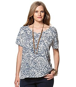 Chaps® Plus Size Printed Cutout Jersey Tee