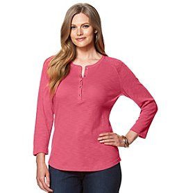 Chaps Plus Size Lace-Yoke Henley