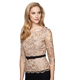 Alex Evenings® Lace Blouse with Black Tie Top