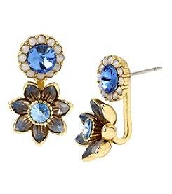 Betsey Johnson® Goldtone Faceted Stone Flower Front Back Earrings