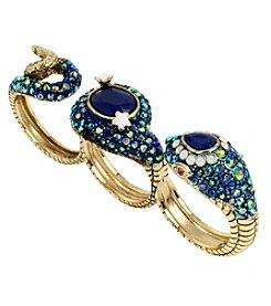 Betsey Johnson® Goldtone Pave Snake Three Finger Ring