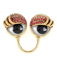 Betsey Johnson® Goldtone Pave Googly Eyes Ring