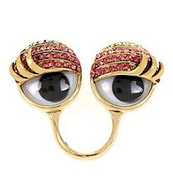 Betsey Johnson® Goldtone Pave Googly Eyes Ring