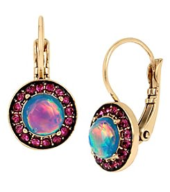 Betsey Johnson® Goldtone Simulated Opal Faceted Stone Drop Earrings