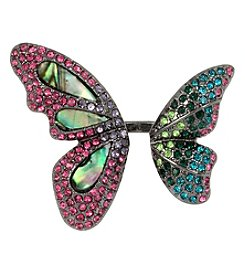 Betsey Johnson® Hematite Tone Mixed Stone Butterfly Ring