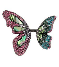 Betsey Johnson® Hematite Tone Mixed Stone Butterfly Ring