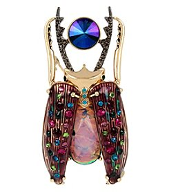 Betsey Johnson® Goldtone Mixed Faceted Stone Beetle Pin