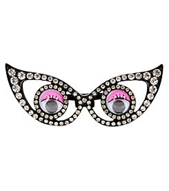 Betsey Johnson® Black Tone Googly Eyes Two Finger Ring