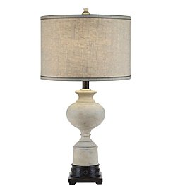 Catalina Lighting White Washed and Bronze Trophy Table Lamp