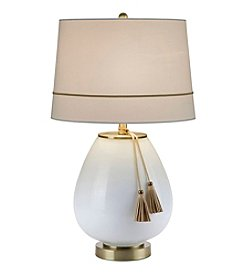 Catalina Lighting Opal Glass with Leather Tassel Accent Table Lamp