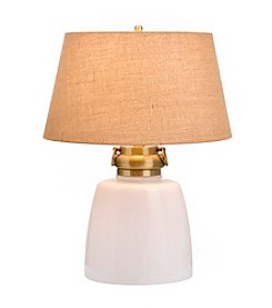 Catalina Lighting White Milk Glass Table Lamp with Night Light