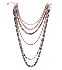 GUESS Two Tone Multi Row Chain Mixed Metal Necklace