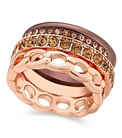 GUESS Tri Tone Mixed Metal Stackable Ring Set