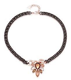GUESS Two Tone Smokey Row Topaz Mini Statement Necklace