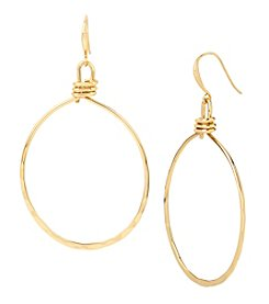 Robert Lee Morris Soho™ Goldtone Hammered Texture Large Oval Gypsy Hoop Earrings