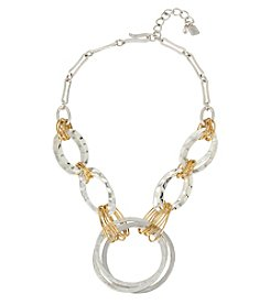 Robert Lee Morris Soho™ Two Tone Wire Wrapped Hammered Texture Circle Frontal Necklace