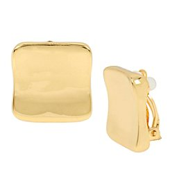 Robert Lee Morris Soho™ Goldtone Sculptural Square Button Stud Clip On Earrings