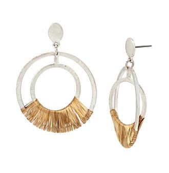 Robert Lee Morris Soho™ Two Tone Wire Wrapped Orbital Earrings