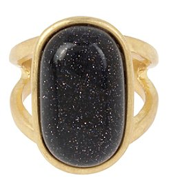 Kenneth Cole® Goldtone Semiprecious Blue Sandstone Oval Stone Cut-Out Ring
