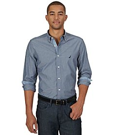 Nautica® Men's Long Sleeve Striped Poplin Button Down Shirt