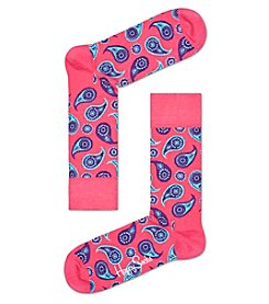 Happy Socks® Men's Pink Paisley Dress Socks