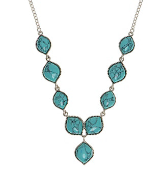 Nine West Vintage America Collection® Silvertone And Turquoise Y-Necklace plus size,  plus size fashion plus size appare