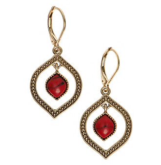 Nine West Vintage America Collection® Goldtone And Coral Orbital Drop Earrings plus size,  plus size fashion plus size appare