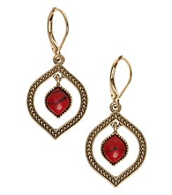 Nine West Vintage America Collection® Goldtone And Coral Orbital Drop Earrings