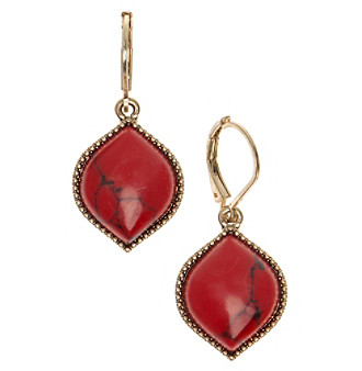 Nine West Vintage America Collection® Goldtone And Coral Drop Earrings plus size,  plus size fashion plus size appare
