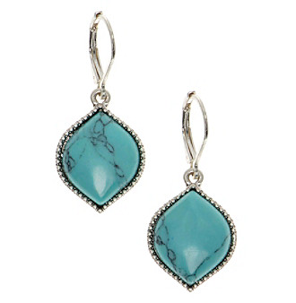 Nine West Vintage America Collection® Silvertone And Turquoise Drop Earrings