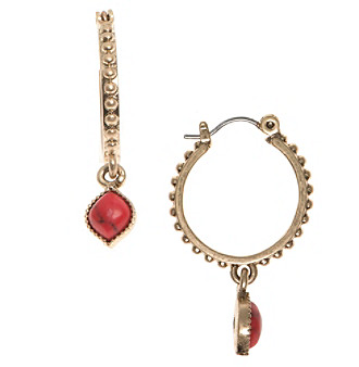 Nine West Vintage America Collection® Goldtone And Coral Drop Off Hoop Earrings plus size,  plus size fashion plus size appare