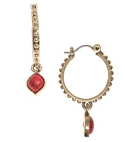 Nine West Vintage America Collection® Goldtone And Coral Drop Off Hoop Earrings
