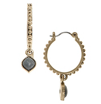 Nine West Vintage America Collection® Goldtone And Grey Drop Off Hoop Earrings plus size,  plus size fashion plus size appare