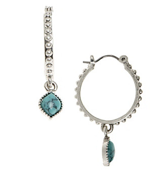 Nine West Vintage America Collection® Silvertone And Turquoise Drop Off Hoop Earrings