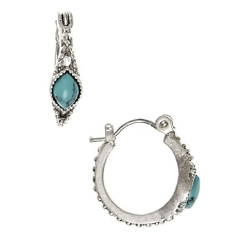 Nine West Vintage America Collection® Silvertone And Turquoise Huggie Hoop Earrings