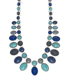 Nine West Vintage America Collection® Silvertone And Blue Multi Drama Necklace