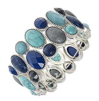 Nine West Vintage America Collection® Silvertone And Blue Multi Large Stretch Bracelet