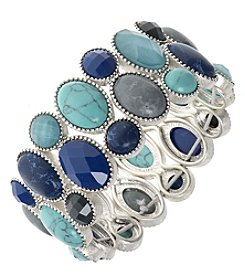 Nine West Vintage America Collection® Silvertone And Blue Multi Large Stretch Bracelet