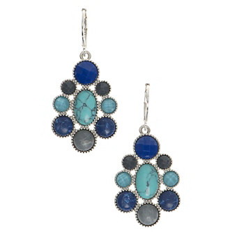 Nine West Vintage America Collection® Silvertone And Blue Multi Chandelier Drop Earrings